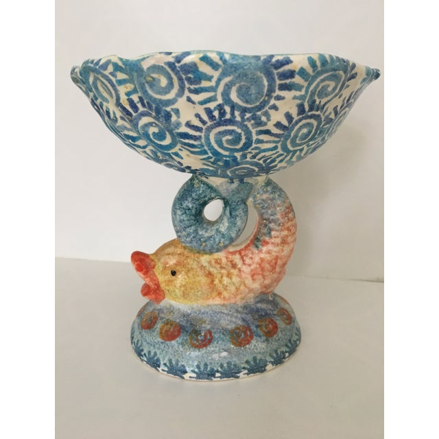 Blue Italian Hand Painted Ceramic Shell Bowl Perched Atop Dolphin Tail For Sale - Image 8 of 10