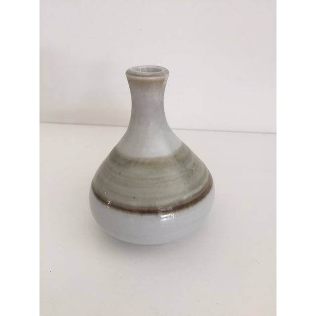 Mid-Century Modern White & Brown Bud Vase - Image 3 of 6