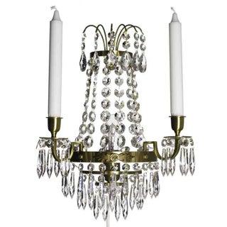 Nobel Polished Brass Crystal Sconce Chandelier For Sale