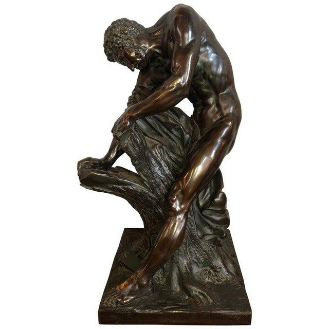 After Edme Dumont 19th Cent Large Bronze Depicting Male Figure of Milo De Croton For Sale - Image 13 of 13