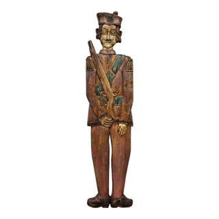 Hand-Carved Hand-Painted Figural Sculpture, Indian Dignitarie For Sale