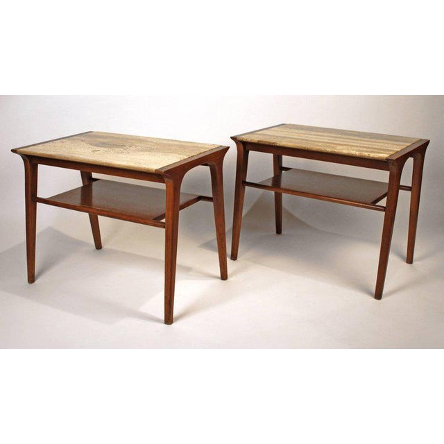Mid-Century Modern John Van Koert Walnut and Travertine Side Tables for Drexel For Sale - Image 3 of 10