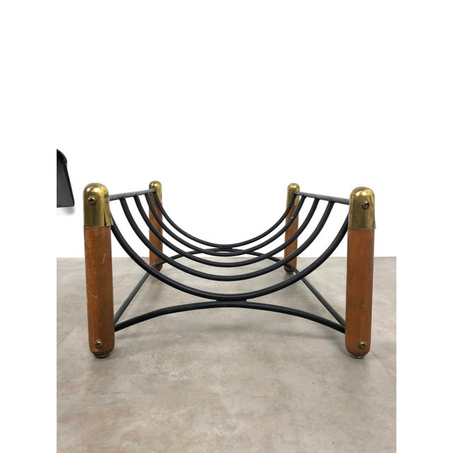 Seymour Manufacturing Company Seymour 1960's Walnut Iron & Brass Fire Tools and Log Rack - Set of 6 For Sale - Image 4 of 11