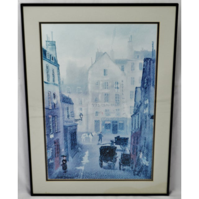 Vintage Framed Paris Street Scene Lithograph by Michel Delacroix For Sale - Image 11 of 13