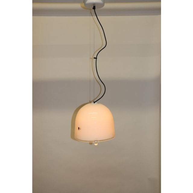 Murano Pendant Lamp. Hand Blown Milky White Glass with 3 Crystal Accents. Metal hardware white lacquered finish. Designed...