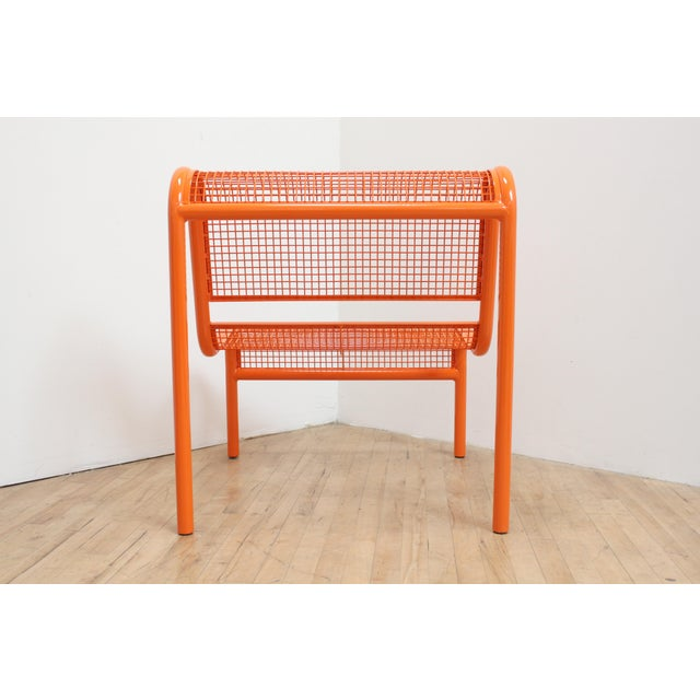 1980s 80s Ergonomic Steel Bench - Postmodern Patio Chair For Sale - Image 5 of 7