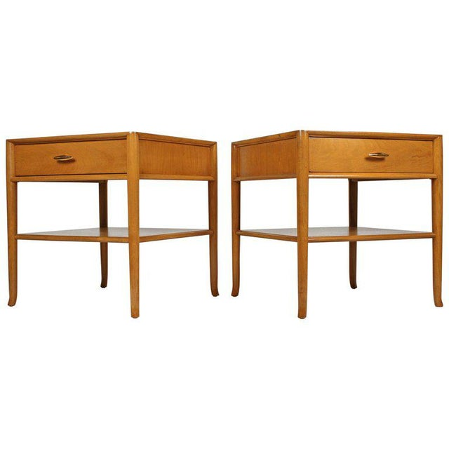 T.H. Robsjohn Gibbings for Widdicomb Bleached Walnut Nightstands - A Pair For Sale - Image 12 of 12