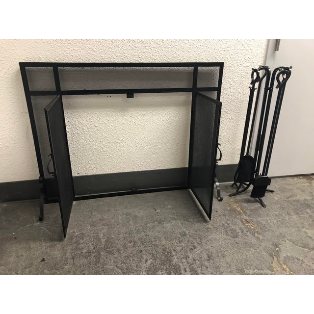 Contemporary Plow & Hearth Fireplace Screen & Tools For Sale - Image 3 of 9