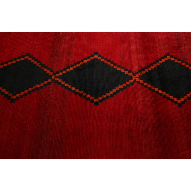 Rug & Kilim Hand-Knotted Antique Gabbeh Rug Red Beige Green With Black Diamond Pattern For Sale - Image 4 of 6