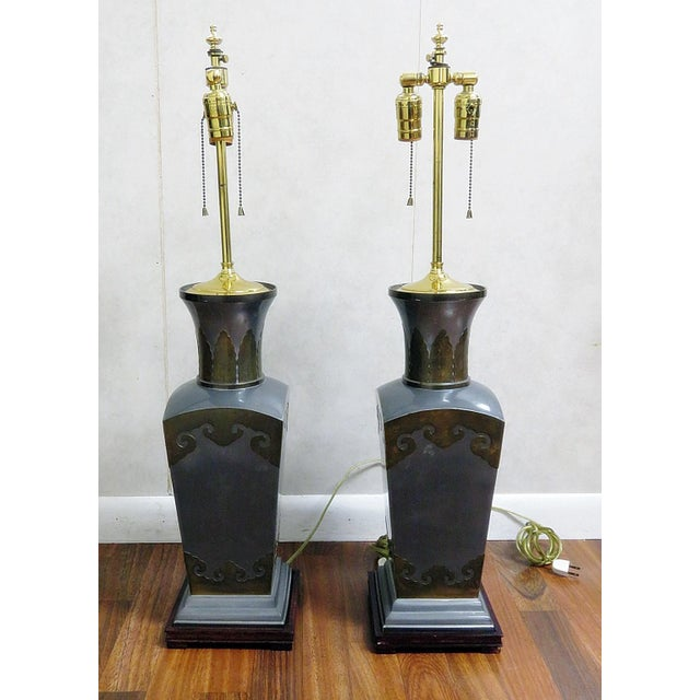 Brass Pair of Mixed Metal Table Lamps For Sale - Image 7 of 7