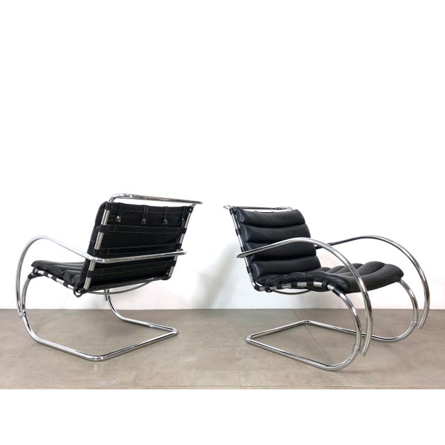 Vintage 1970s Mies Van Der Rohe Style Lounge Chairs - a Pair For Sale - Image 9 of 10