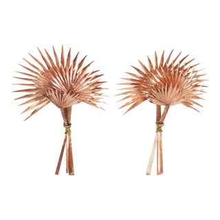 Large Copper and Brass Palmetto Palm Sconces - A Pair For Sale