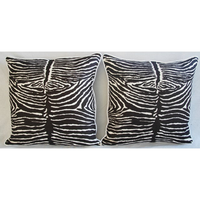 "Boho Chic 23"" Custom Tailored Brunschwig & Fils Zebra Feather/Down Pillows - Pair For Sale - Image 3 of 12"