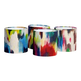 Loom Abstract Watercolor Sconce or Chandelier Drum Shades - a Pair