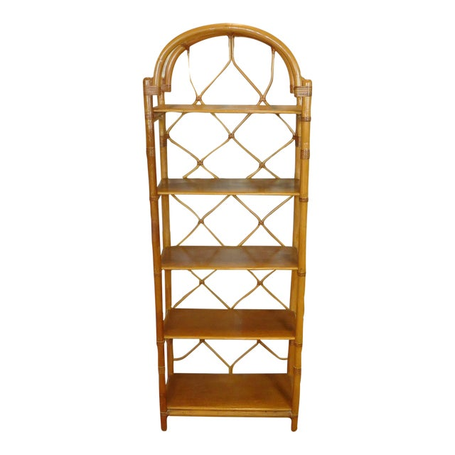 Arched Rattan & Bamboo Etagere - Image 1 of 7