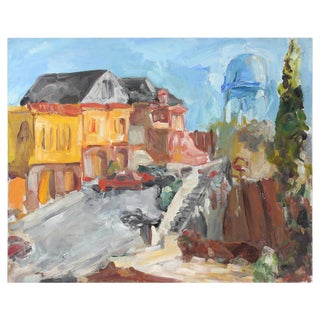 Jack Freeman June 23, 1988 Expressionist Cityscape/Landscape W/ Water Tower in Oil on Canvas June 23, 1988 For Sale