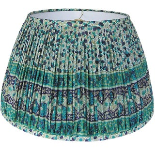Teal/Navy Silk Sari Lamp Shade For Sale