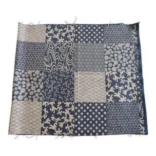 """Vintage Indigo and Natural Japanese """"Boro"""" Patchwork Textile Fragment For Sale"""
