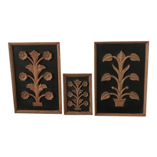 Folk Art Floral Plants Carved Wood Wall Plaques - Set of 3 For Sale