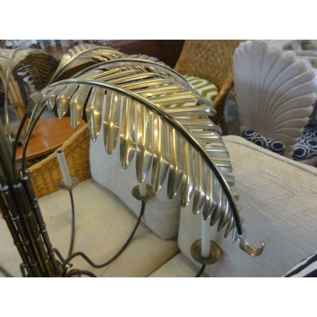 Large Faux Bamboo Brass Palm Chandelier - Image 3 of 11