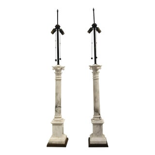 1920s Italian Marble Column Lamps - a Pair For Sale