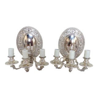 Antique Silver Plated Sconces- A Pair For Sale