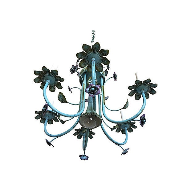 1960s Mid-Century Italian Floral Chandelier For Sale - Image 5 of 8