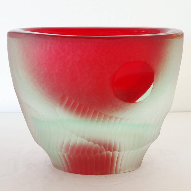 Red Red Murano Glass Vase Sculpture by Romano Dona' For Sale - Image 8 of 8