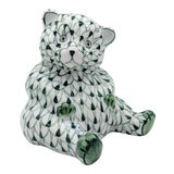 Image of Herend Style Hand Painted Green and White Fishnet Bear Figurine For Sale