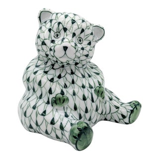 Herend Style Hand Painted Green and White Fishnet Bear Figurine For Sale