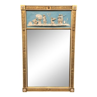 Friedman Brothers Neoclassical Adam Style Wedgwood Gold Leaf Mirror For Sale