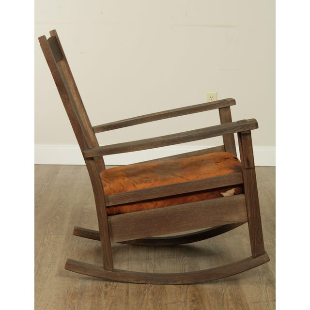 Antique Mission Oak Wcathered Rocker For Sale In Philadelphia - Image 6 of 13