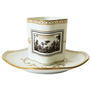 White and Gold Italian Espresso Coffee or Tea Cup and Saucer by Richard Ginori For Sale