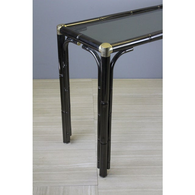 Metal Mid Century Faux Bamboo Console For Sale - Image 7 of 9