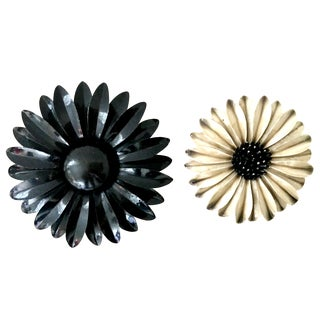"1960's Organic Modern Enamel ""Flower Power"" Brooches - a Pair For Sale"