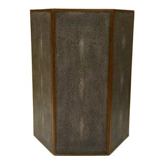 Modern Gray Faux Shagreen Hexagonal Side Table