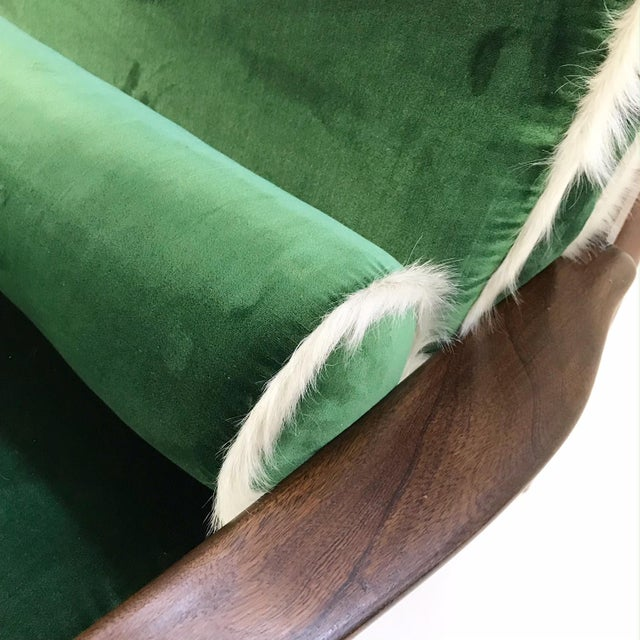 Textile Vintage Walnut Lounge Chair Attributed to Finn Juhl Restored in Schumacher's Emerald Green Silk Velvet and Brazilian Cowhide For Sale - Image 7 of 10