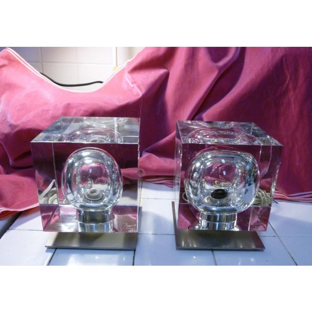 2 1970's Rare Baccarat Cube Lamps by Robert Rigot- P sold as found with one small flea bite to corner easily ground out...