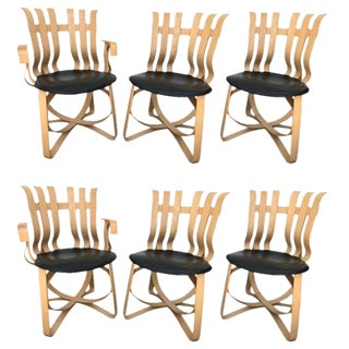 Set of Four Dining and Two Captain Hat Trick Chairs by Frank Gehry for Knoll For Sale