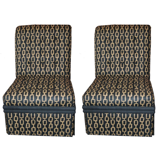 Mid-Century Custom Fabric Slipper Chairs - a Pair For Sale In Palm Springs - Image 6 of 6