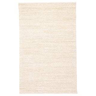 Jaipur Living Canterbury Handmade Solid White/ Beige Area Rug - 5′ × 8′ For Sale