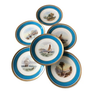 Antique Nautical Minton Dinner Plates - Set of 6