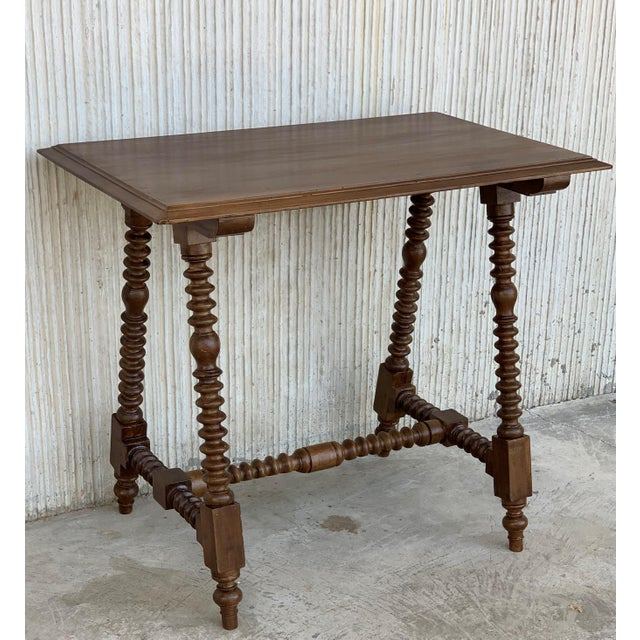 Mid 19th Century Spanish Baroque Side Table With Wood Stretcher and Carved Top in Walnut For Sale - Image 5 of 13