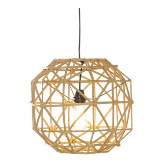 Hexagon Pendant, Beige, Rattan For Sale
