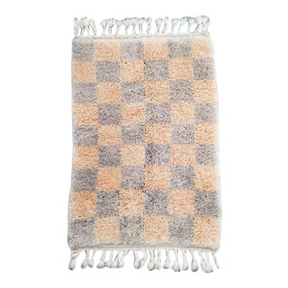 Dusty Lavender and Peach Checkered Mini Moroccan Wool Rug - 2x3 Ft For Sale