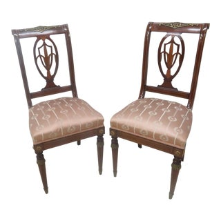Quality 19th C French Inlaid Ormolu Mounted Side Chairs - a Pair