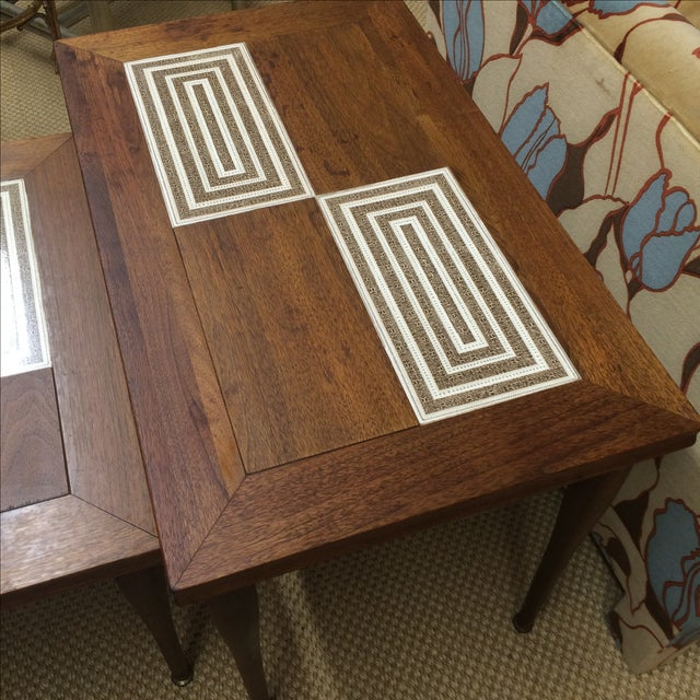 MCM Tile & Walnut Stacking Tables - Image 7 of 9