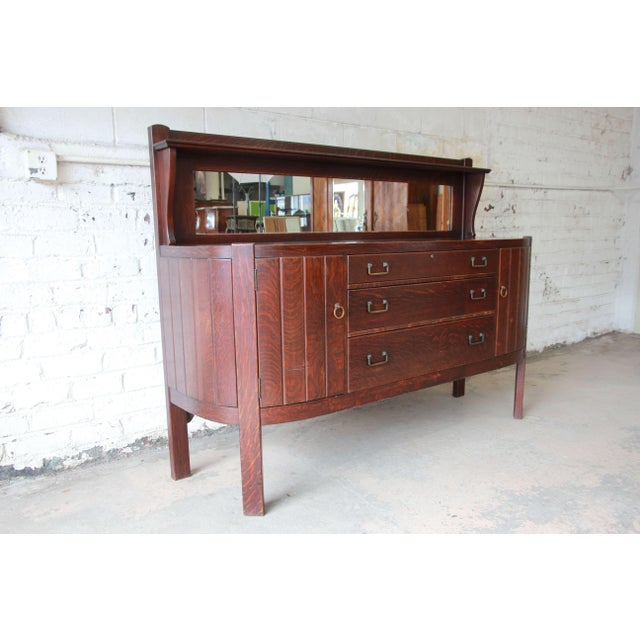 Mission Antique Mission Oak Sideboard by Grand Rapids Chair Co., Circa 1910 For Sale - Image 3 of 12