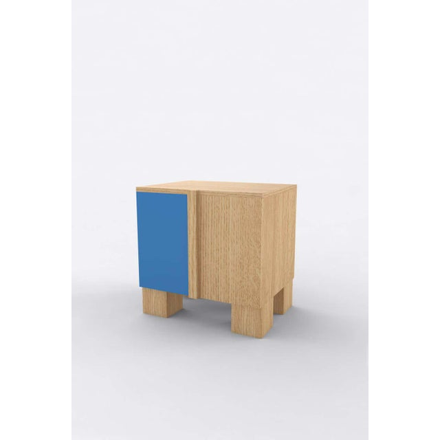 Postmodern Contemporary 100 Bedside in Oak and Blue by Orphan Work, 2020 For Sale - Image 3 of 3