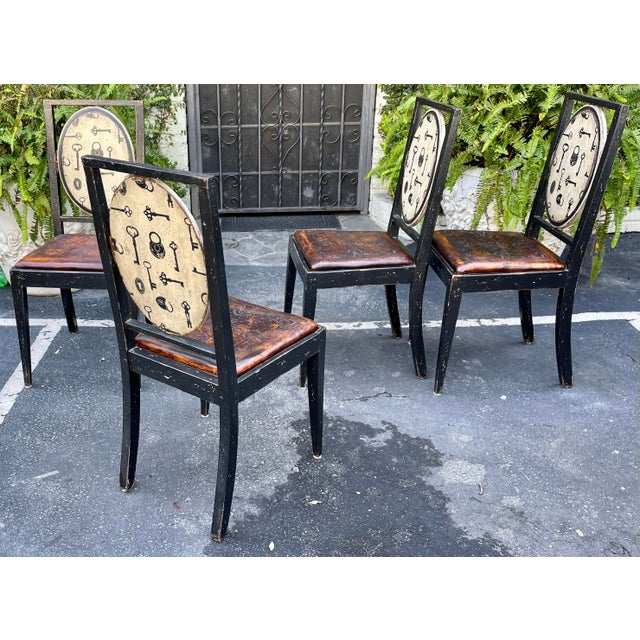 Rustic Equator Furniture Company Rustic Tooled Leather Painted Dining Chairs For Sale - Image 3 of 4